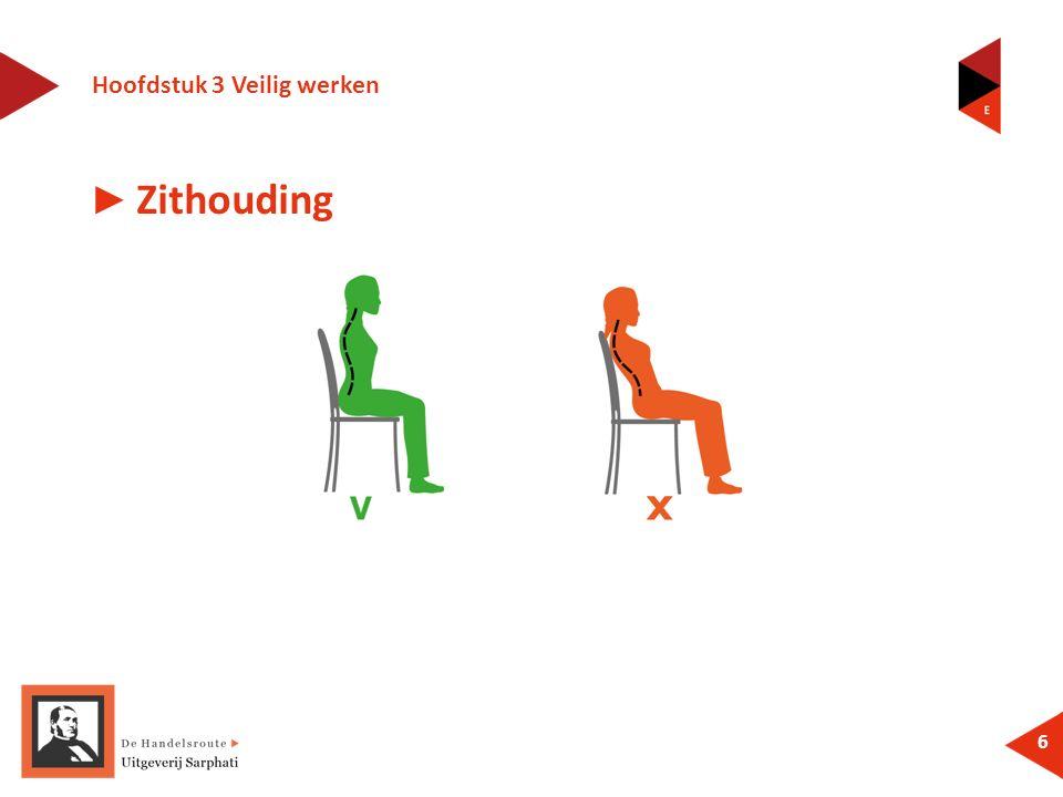 Hoofdstuk 3 Veilig werken 6 ► Zithouding
