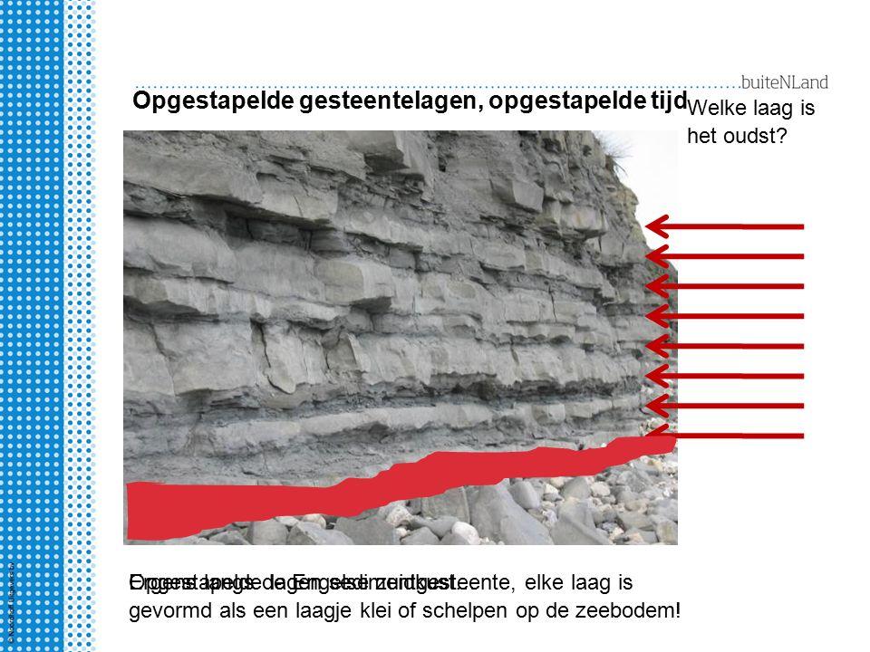 Opgestapelde gesteentelagen, opgestapelde tijd Opgestapelde lagen sedimentgesteente, elke laag is gevormd als een laagje klei of schelpen op de zeebodem.