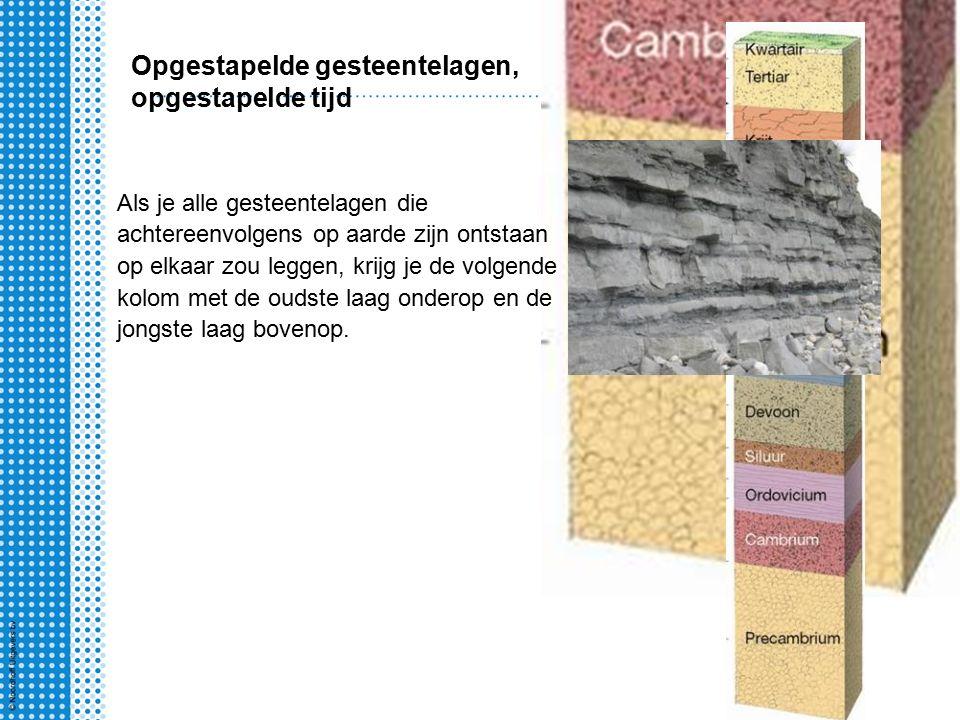 Opgestapelde gesteentelagen, opgestapelde tijd Als je alle gesteentelagen die achtereenvolgens op aarde zijn ontstaan op elkaar zou leggen, krijg je de volgende kolom met de oudste laag onderop en de jongste laag bovenop.