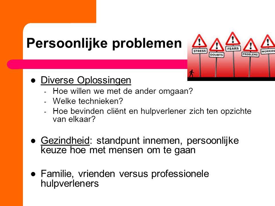 Persoonlijke problemen Diverse Oplossingen - Hoe willen we met de ander omgaan.