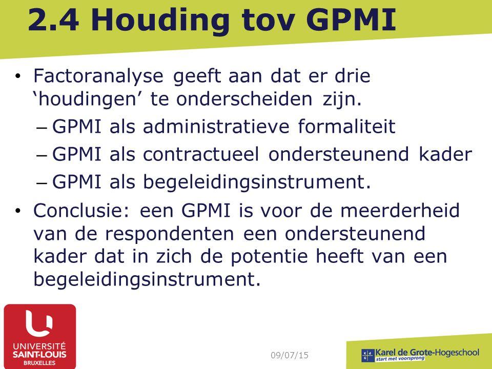 2.4 Houding tov GPMI Factoranalyse geeft aan dat er drie 'houdingen' te onderscheiden zijn. – GPMI als administratieve formaliteit – GPMI als contract