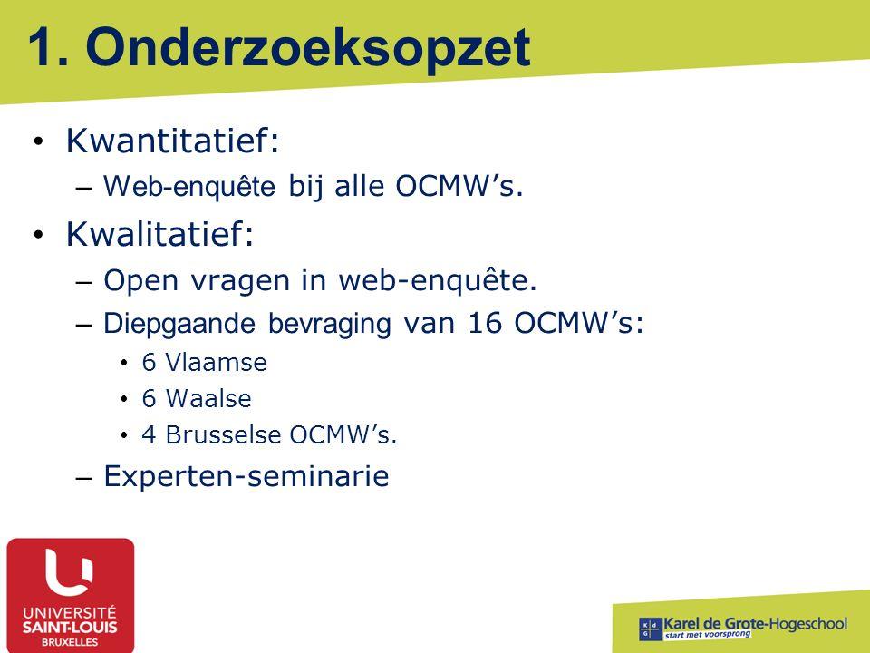 1. Onderzoeksopzet Kwantitatief: –Web-enquête bij alle OCMW's. Kwalitatief: – Open vragen in web-enquête. –Diepgaande bevraging van 16 OCMW's: 6 Vlaam