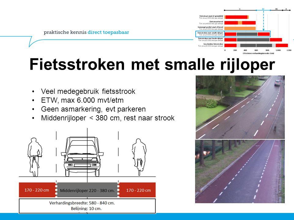 Fietsstroken met smalle rijloper Veel medegebruik fietsstrook ETW, max 6.000 mvt/etm Geen asmarkering, evt parkeren Middenrijloper < 380 cm, rest naar