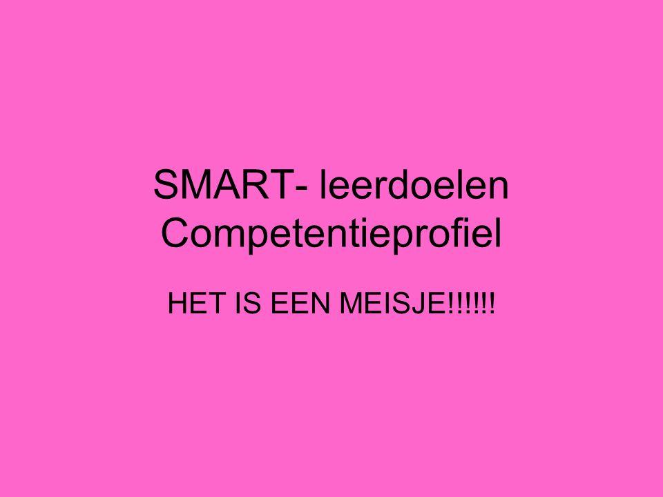 SMART- leerdoelen Competentieprofiel HET IS EEN MEISJE!!!!!!
