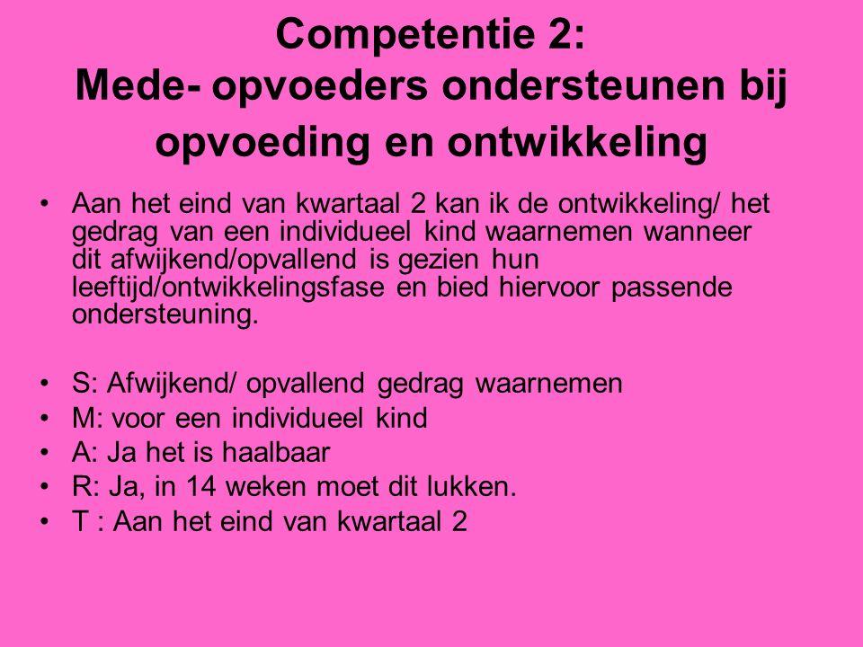 Competentie 2: Mede- opvoeders ondersteunen bij opvoeding en ontwikkeling Aan het eind van kwartaal 2 kan ik de ontwikkeling/ het gedrag van een indiv