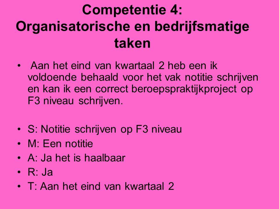 Competentie 4: Organisatorische en bedrijfsmatige taken Aan het eind van kwartaal 2 heb een ik voldoende behaald voor het vak notitie schrijven en kan ik een correct beroepspraktijkproject op F3 niveau schrijven.