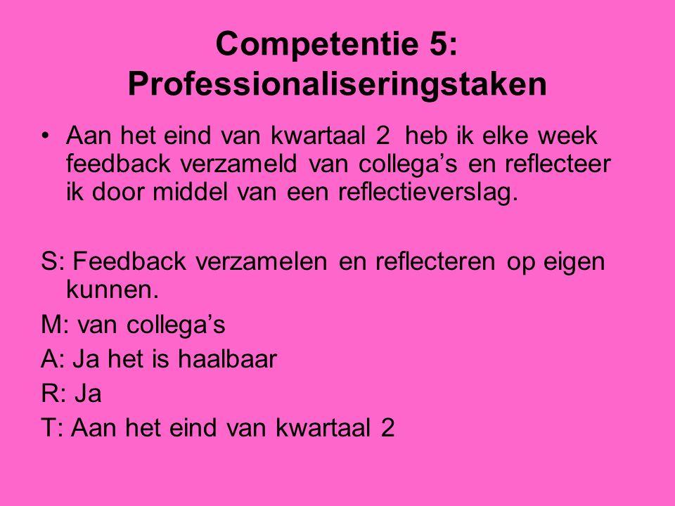 Competentie 5: Professionaliseringstaken Aan het eind van kwartaal 2 heb ik elke week feedback verzameld van collega's en reflecteer ik door middel van een reflectieverslag.