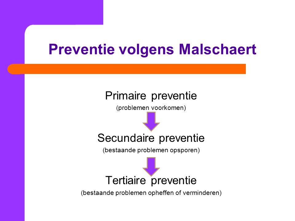 Preventie volgens Malschaert Primaire preventie (problemen voorkomen) Secundaire preventie (bestaande problemen opsporen) Tertiaire preventie (bestaande problemen opheffen of verminderen)