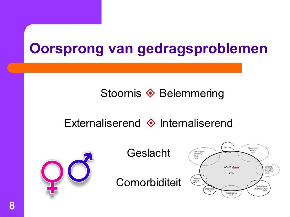 8 Oorsprong van gedragsproblemen Stoornis  Belemmering Externaliserend  Internaliserend Geslacht Comorbiditeit