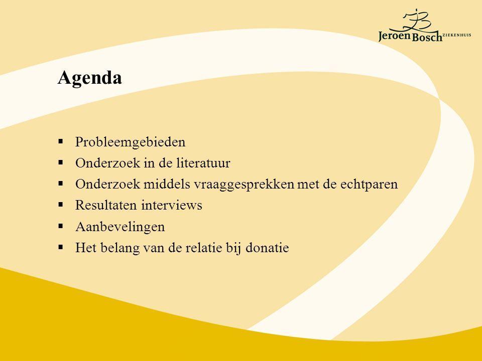 Agenda  Probleemgebieden  Onderzoek in de literatuur  Onderzoek middels vraaggesprekken met de echtparen  Resultaten interviews  Aanbevelingen  Het belang van de relatie bij donatie