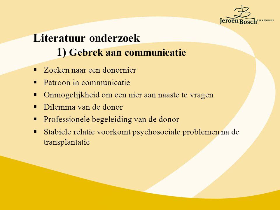 Literatuur onderzoek 1) Gebrek aan communicatie  Zoeken naar een donornier  Patroon in communicatie  Onmogelijkheid om een nier aan naaste te vrage