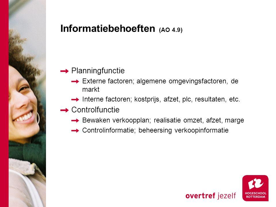 Informatiebehoeften (AO 4.9) Planningfunctie Externe factoren; algemene omgevingsfactoren, de markt Interne factoren; kostprijs, afzet, plc, resultate