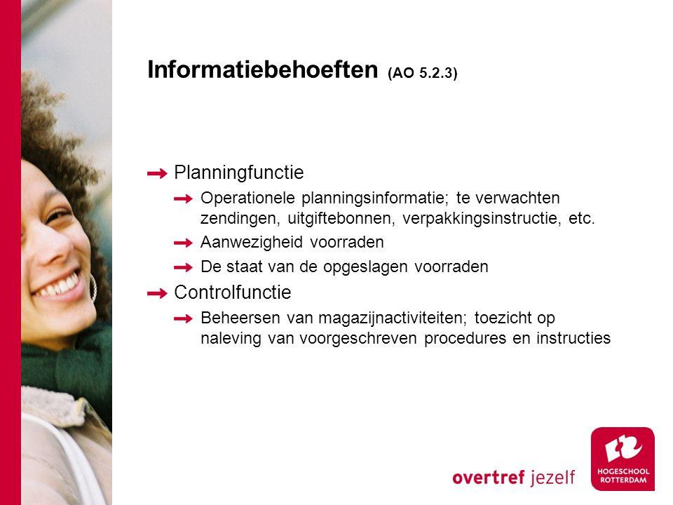 Informatiebehoeften (AO 5.2.3) Planningfunctie Operationele planningsinformatie; te verwachten zendingen, uitgiftebonnen, verpakkingsinstructie, etc.