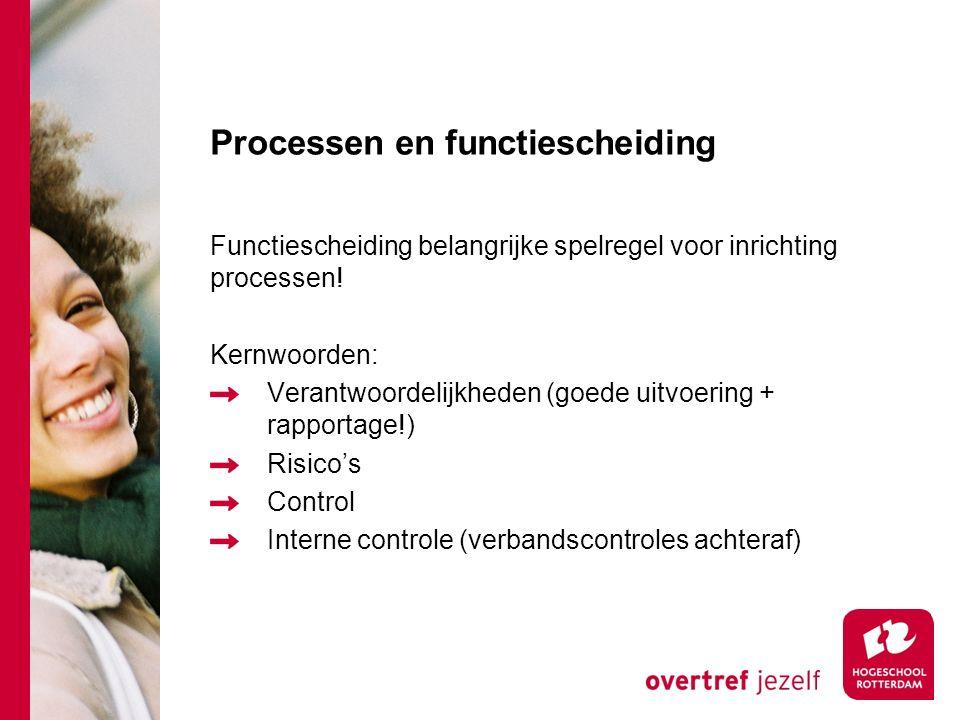 Processen en functiescheiding Functiescheiding belangrijke spelregel voor inrichting processen! Kernwoorden: Verantwoordelijkheden (goede uitvoering +