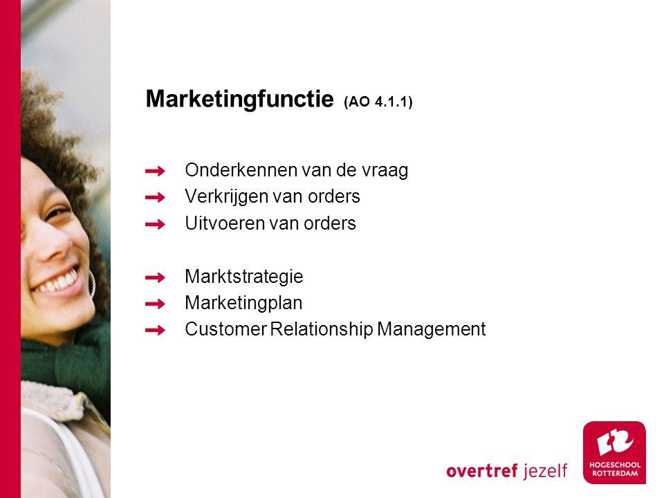 Marketingfunctie (AO 4.1.1) Onderkennen van de vraag Verkrijgen van orders Uitvoeren van orders Marktstrategie Marketingplan Customer Relationship Man