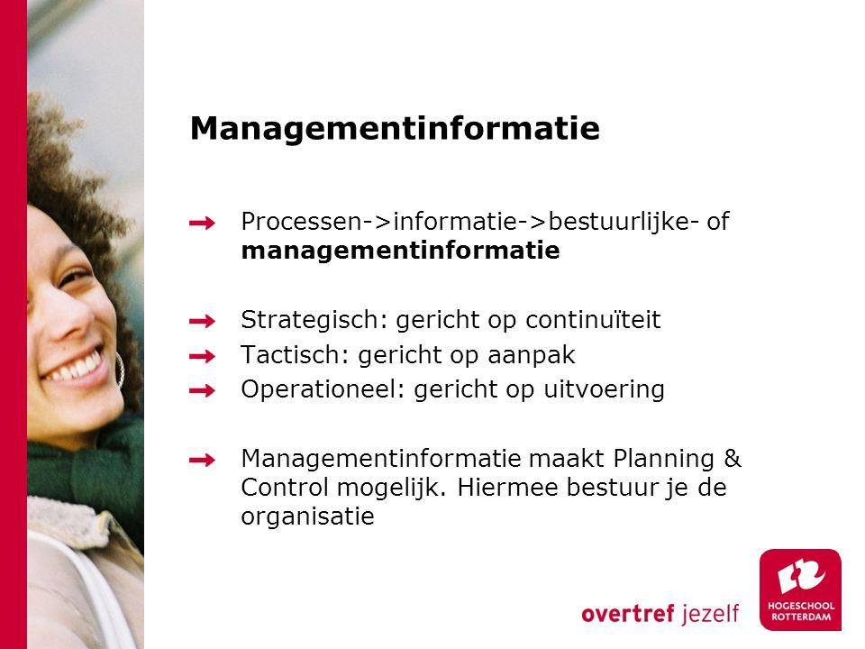 Managementinformatie Processen->informatie->bestuurlijke- of managementinformatie Strategisch: gericht op continuïteit Tactisch: gericht op aanpak Ope