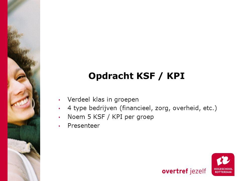 Opdracht KSF / KPI Verdeel klas in groepen 4 type bedrijven (financieel, zorg, overheid, etc.) Noem 5 KSF / KPI per groep Presenteer