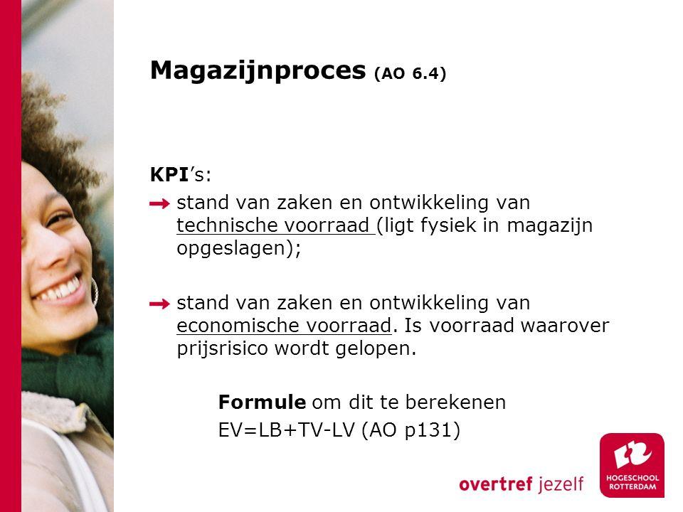 Magazijnproces (AO 6.4) KPI's: stand van zaken en ontwikkeling van technische voorraad (ligt fysiek in magazijn opgeslagen); stand van zaken en ontwik