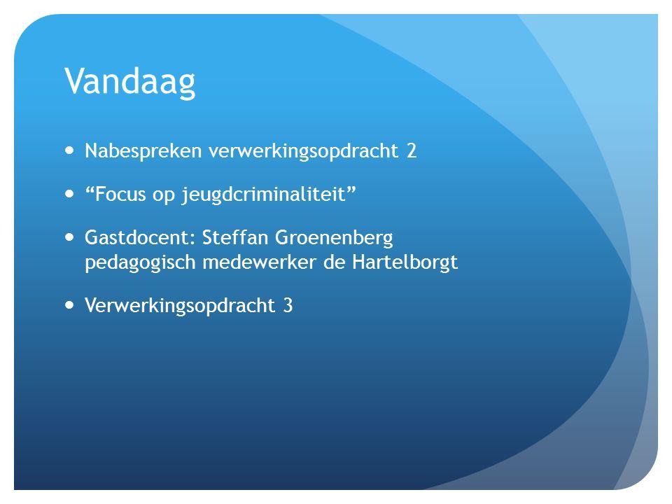 Vandaag Nabespreken verwerkingsopdracht 2 Focus op jeugdcriminaliteit Gastdocent: Steffan Groenenberg pedagogisch medewerker de Hartelborgt Verwerkingsopdracht 3