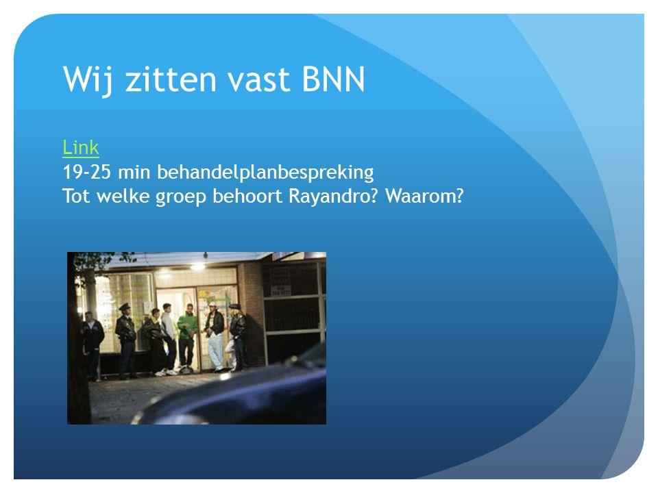 Wij zitten vast BNN Link Link 19-25 min behandelplanbespreking Tot welke groep behoort Rayandro.