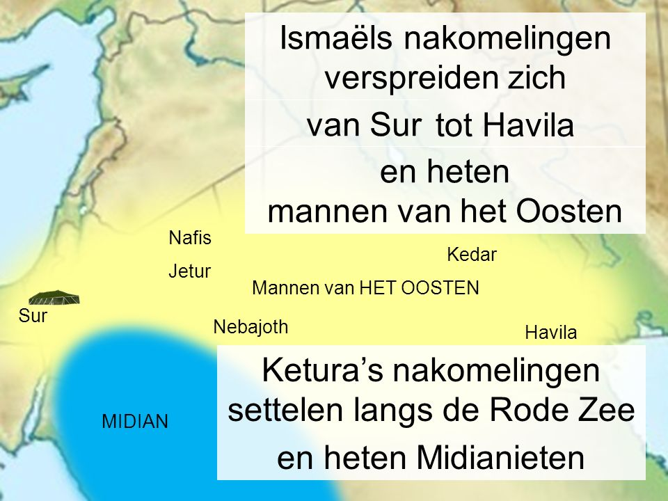 Havila Kedar Nebajoth Sur Ismaëls nakomelingen verspreiden zich tot Havila van Sur en heten mannen van het Oosten Ketura's nakomelingen settelen langs
