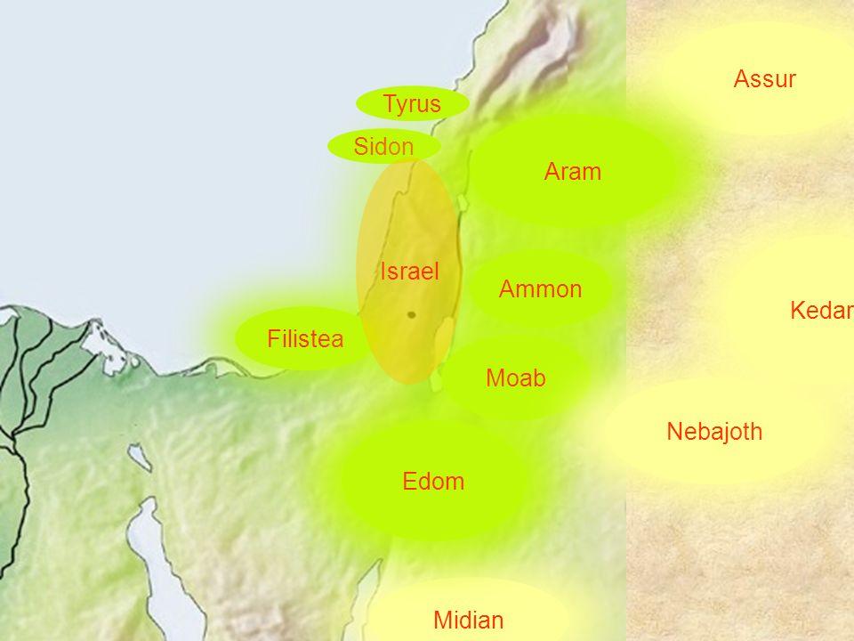 Filistea Moab Nebajoth Kedar Assur Ammon Midian Edom Aram Sidon Tyrus Israel
