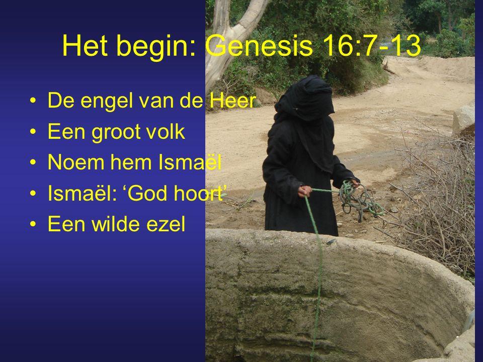 Het begin: Genesis 16:7-13 De engel van de Heer Een groot volk Noem hem Ismaël Ismaël: 'God hoort' Een wilde ezel