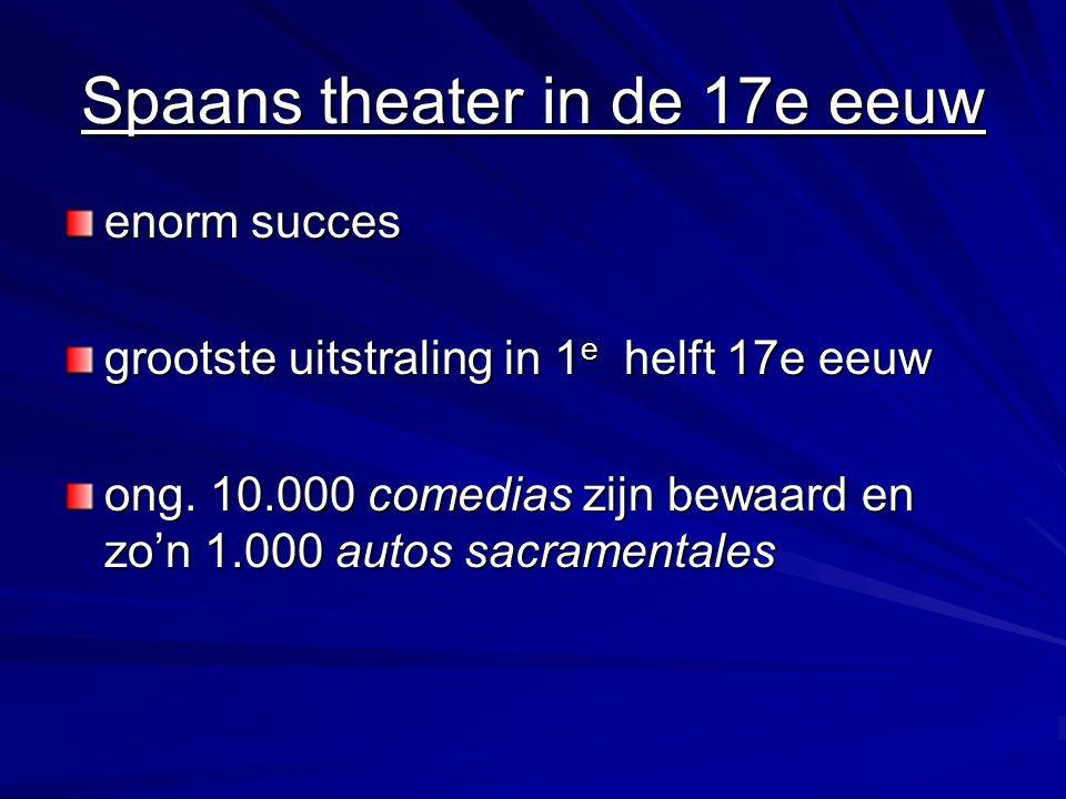 Spaans theater in de 17e eeuw enorm succes grootste uitstraling in 1 e helft 17e eeuw ong.