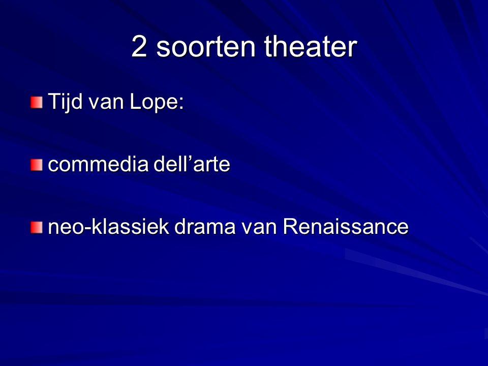 2 soorten theater Tijd van Lope: commedia dell'arte neo-klassiek drama van Renaissance