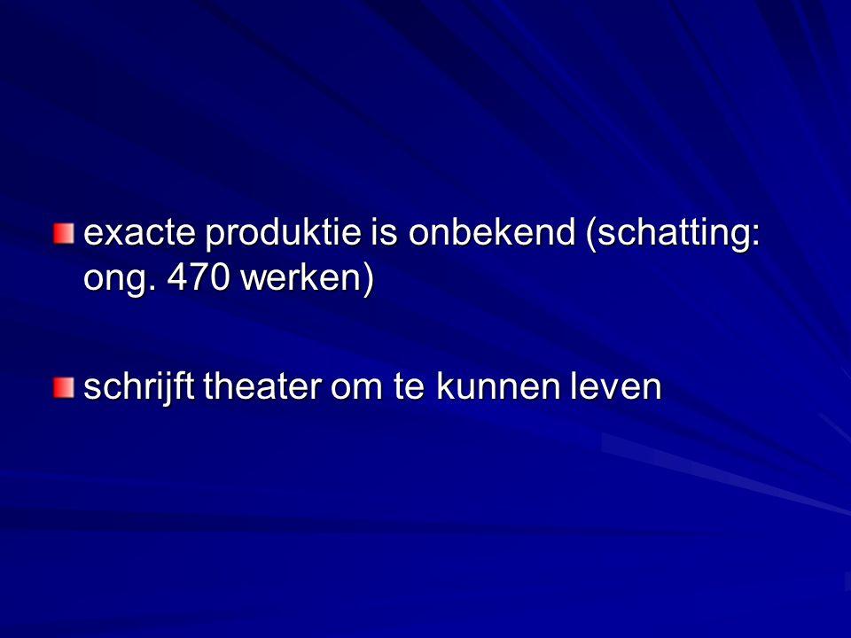 exacte produktie is onbekend (schatting: ong. 470 werken) schrijft theater om te kunnen leven