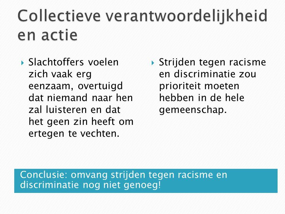 Conclusie: omvang strijden tegen racisme en discriminatie nog niet genoeg.