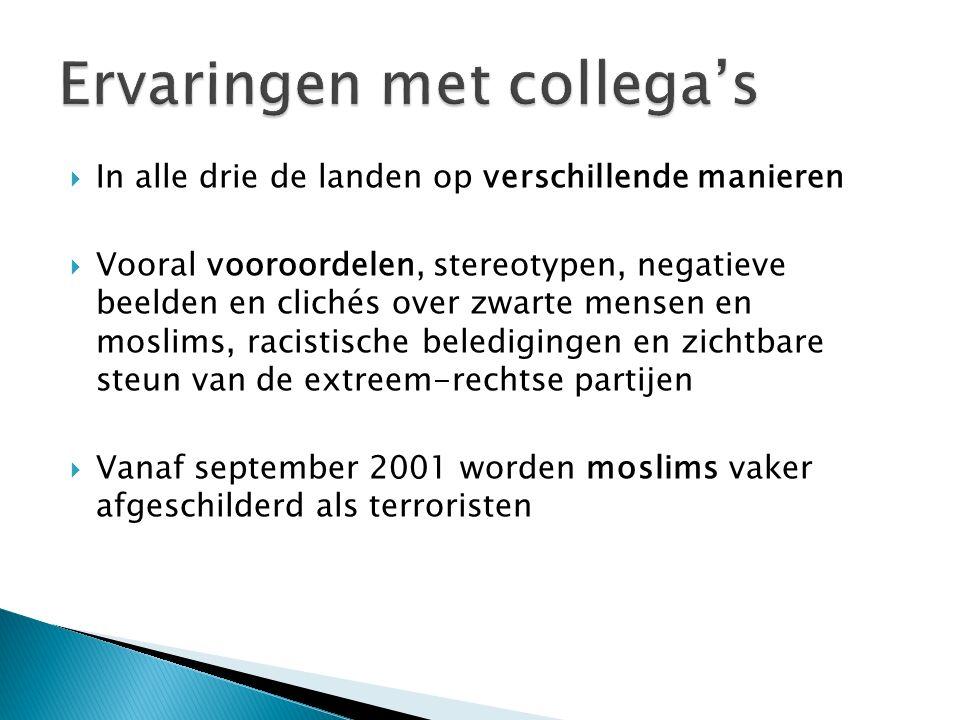  In alle drie de landen op verschillende manieren  Vooral vooroordelen, stereotypen, negatieve beelden en clichés over zwarte mensen en moslims, racistische beledigingen en zichtbare steun van de extreem-rechtse partijen  Vanaf september 2001 worden moslims vaker afgeschilderd als terroristen
