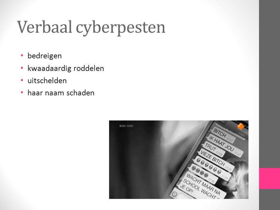 Verbaal cyberpesten bedreigen kwaadaardig roddelen uitschelden haar naam schaden