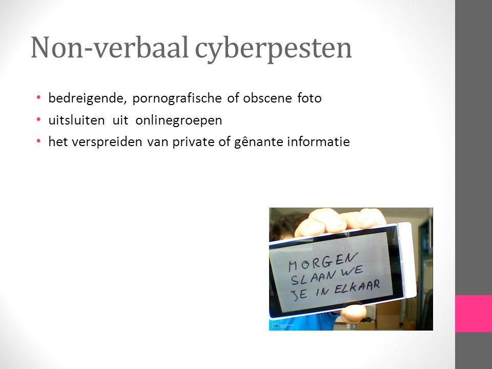 Non-verbaal cyberpesten bedreigende, pornografische of obscene foto uitsluiten uit onlinegroepen het verspreiden van private of gênante informatie