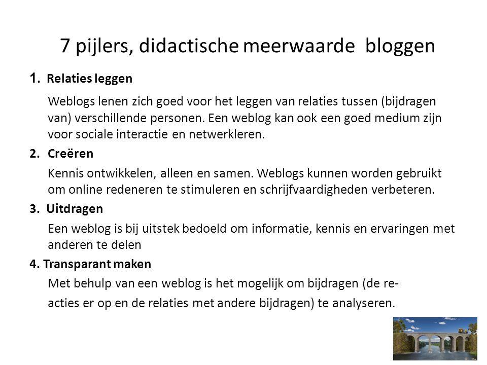 7 pijlers, didactische meerwaarde bloggen 1. Relaties leggen Weblogs lenen zich goed voor het leggen van relaties tussen (bijdragen van) verschillende