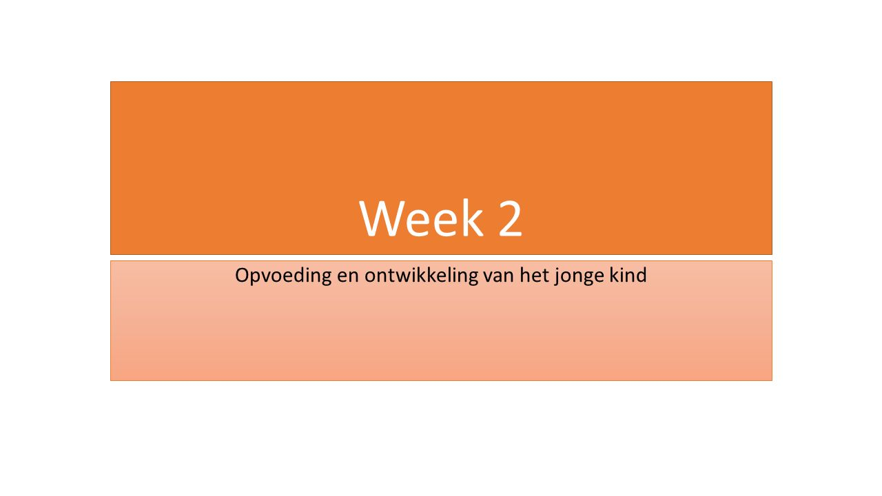 Week 2 Opvoeding en ontwikkeling van het jonge kind