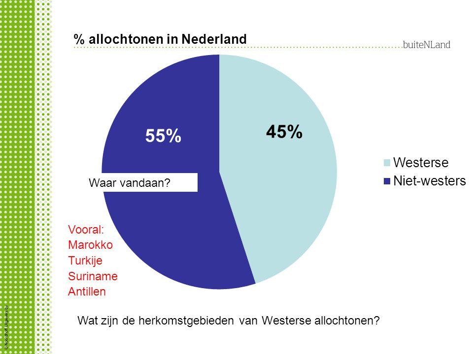 % allochtonen in Nederland Wat zijn de herkomstgebieden van Westerse allochtonen? Waar vandaan? Vooral: Marokko Turkije Suriname Antillen