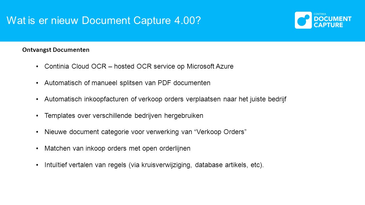Wat is er nieuw Document Capture 4.00.