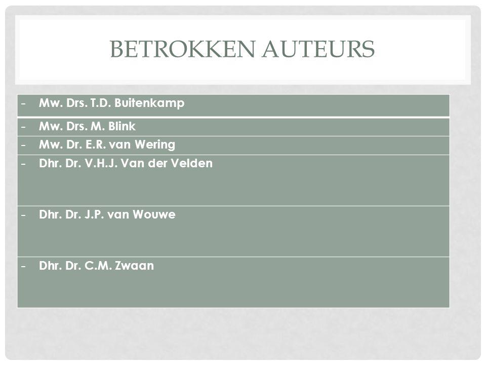 BETROKKEN AUTEURS - Mw.Drs. T.D. Buitenkamp - Mw.