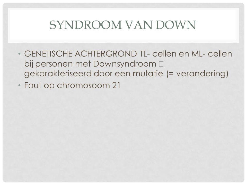 SYNDROOM VAN DOWN GENETISCHE ACHTERGROND TL- cellen en ML- cellen bij personen met Downsyndroom  gekarakteriseerd door een mutatie (= verandering) Fout op chromosoom 21