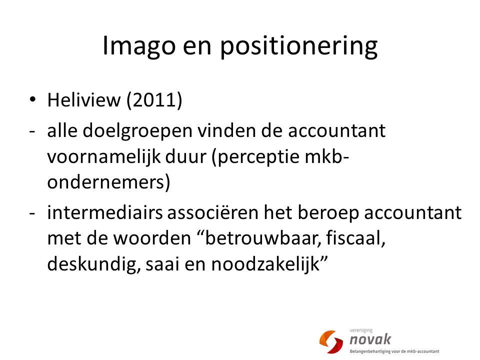 Imago en positionering Heliview (2011) -alle doelgroepen vinden de accountant voornamelijk duur (perceptie mkb- ondernemers) -intermediairs associëren het beroep accountant met de woorden betrouwbaar, fiscaal, deskundig, saai en noodzakelijk