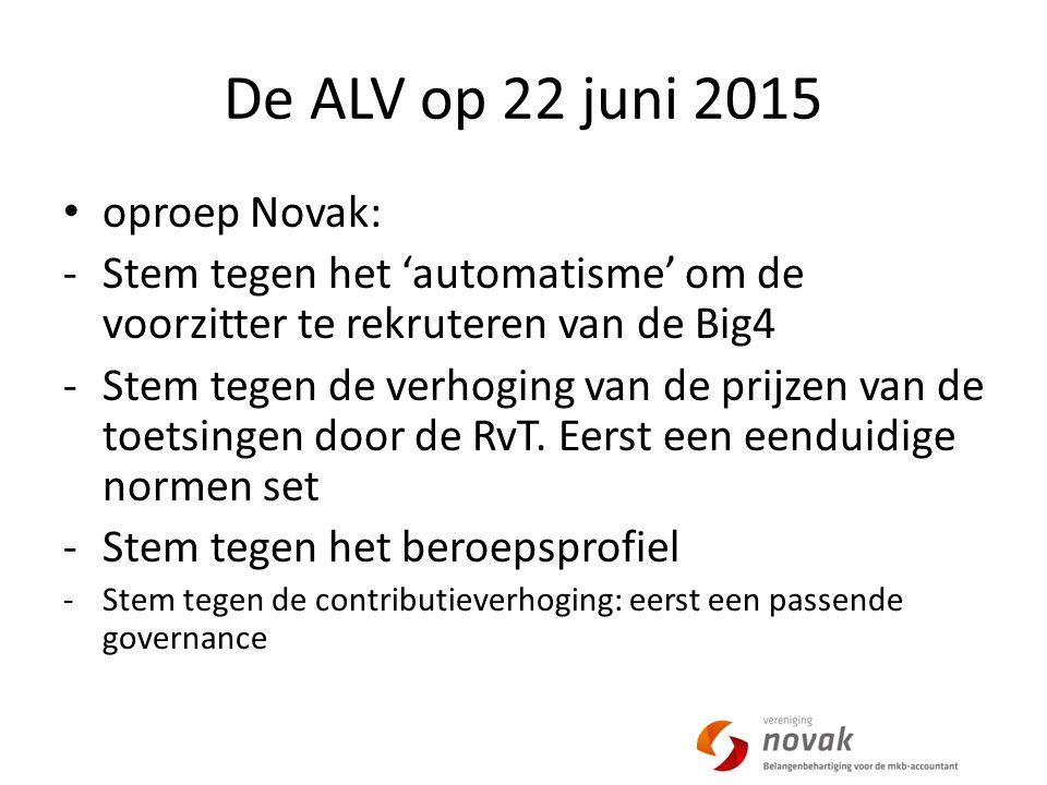 De ALV op 22 juni 2015 oproep Novak: -Stem tegen het 'automatisme' om de voorzitter te rekruteren van de Big4 -Stem tegen de verhoging van de prijzen van de toetsingen door de RvT.
