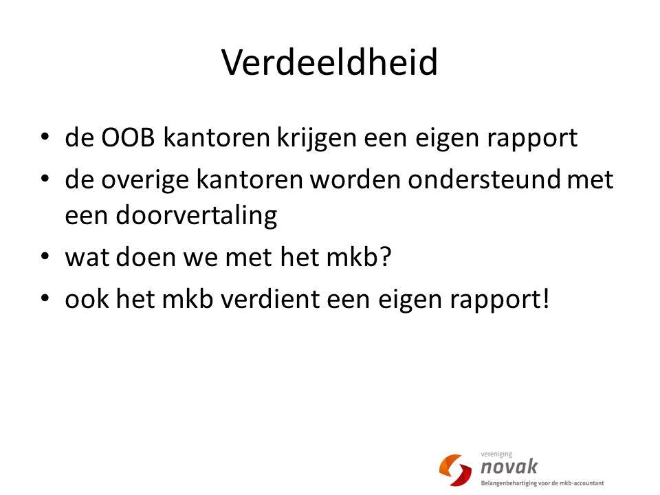 Verdeeldheid de OOB kantoren krijgen een eigen rapport de overige kantoren worden ondersteund met een doorvertaling wat doen we met het mkb.