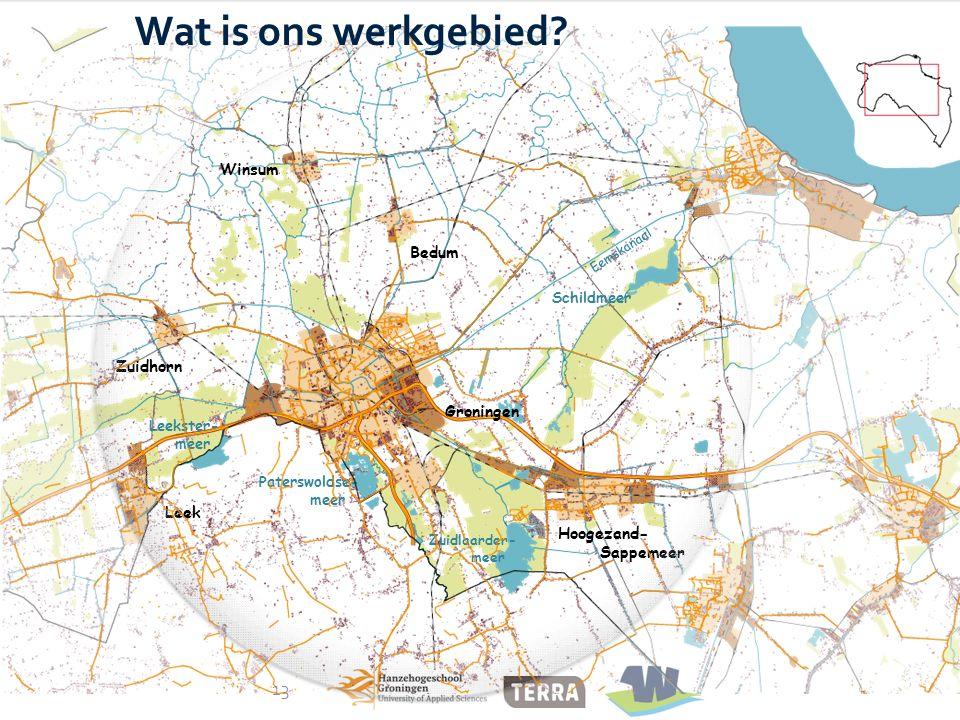 Hoogezand- Sappemeer Groningen Leek Winsum Bedum Zuidhorn Zuidlaarder- meer Paterswoldse- meer Leekster- meer Schildmeer Eemskanaal 13 Wat is ons werk