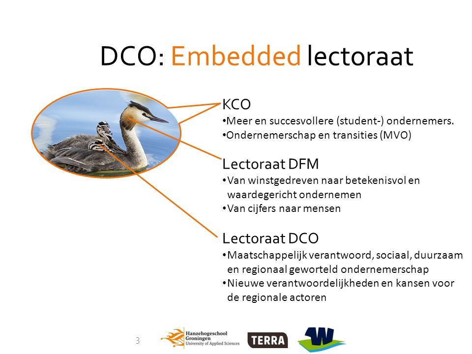 3 DCO: Embedded lectoraat KCO Meer en succesvollere (student-) ondernemers. Ondernemerschap en transities (MVO) Lectoraat DFM Van winstgedreven naar b