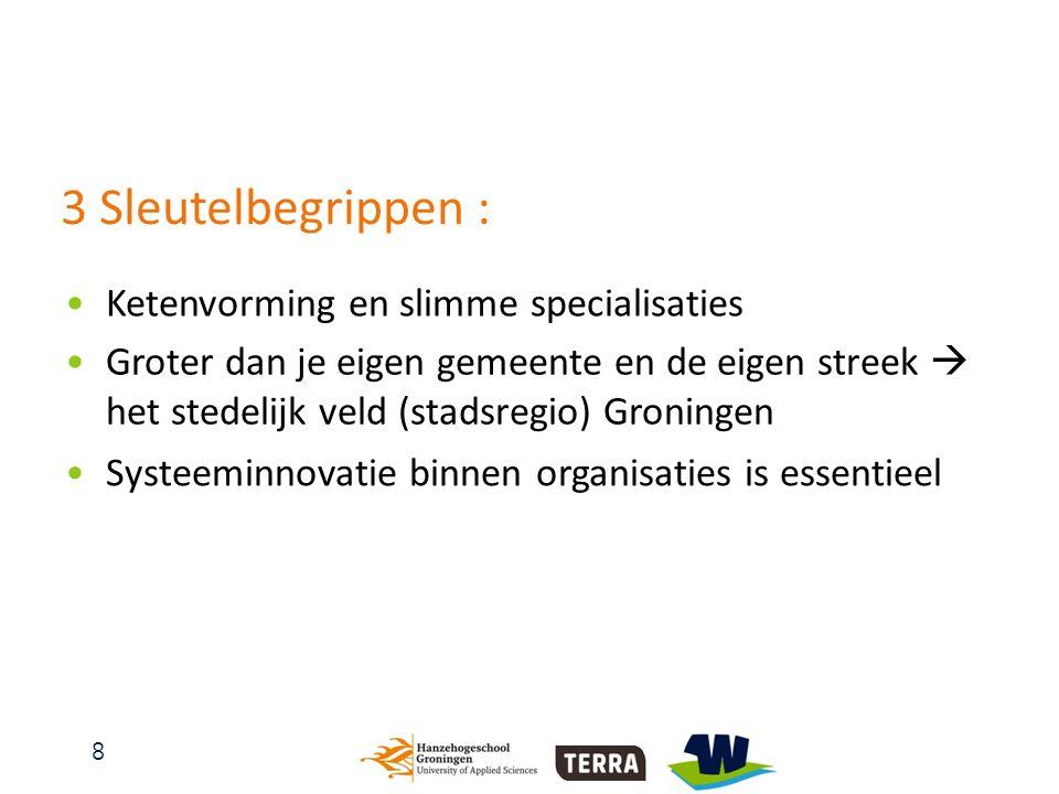 8 3 Sleutelbegrippen : Groter dan je eigen gemeente en de eigen streek  het stedelijk veld (stadsregio) Groningen Systeeminnovatie binnen organisaties is essentieel Ketenvorming en slimme specialisaties
