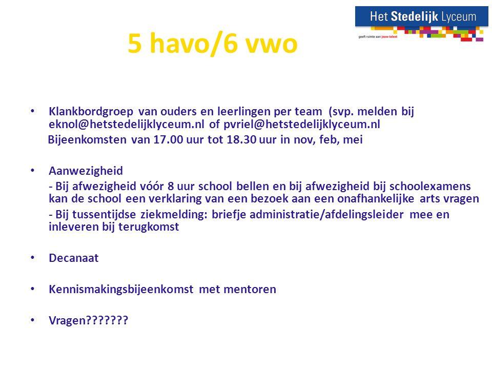 5 havo/6 vwo Klankbordgroep van ouders en leerlingen per team (svp.