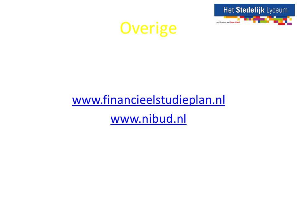 Overige www.financieelstudieplan.nl www.nibud.nl