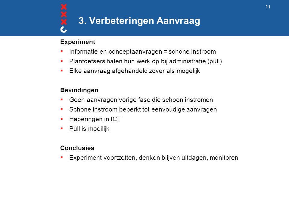 3. Verbeteringen Aanvraag Experiment  Informatie en conceptaanvragen = schone instroom  Plantoetsers halen hun werk op bij administratie (pull)  El