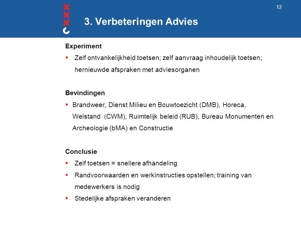 3. Verbeteringen Advies Experiment  Zelf ontvankelijkheid toetsen; zelf aanvraag inhoudelijk toetsen; hernieuwde afspraken met adviesorganen Bevindin